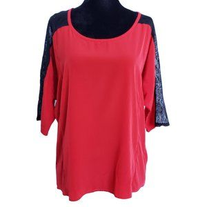 XXI Red Loose Fit Top with Black Lace Shoulders M